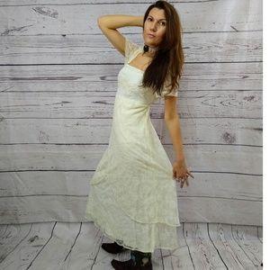 April Cornell cream vintage lace dress